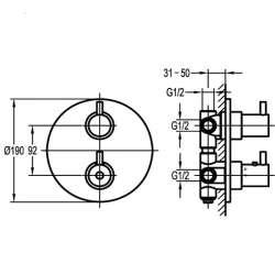 Bergsee Аполо термостатен смесител вграден за вана/душ с четирипътен превключвател 2