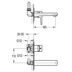 Bergsee Гала стенен смесител за вграждане с лят чучур и метален панел 2