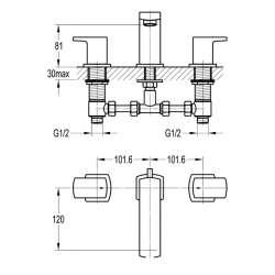 Bergsee Гала тридупков смесител за вграждане за мивка-стоящ 2
