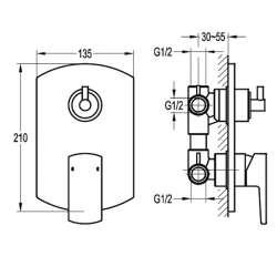 Bergsee Гала едноръкохватков петпътен смесител за вграждане 2