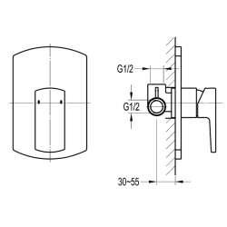 Bergsee Гала едноръкохватков трипътен смесител за вграждане 2