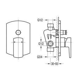 Bergsee Гала едноръкохватков четирипътен смесител за вграждане 2