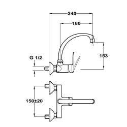 TEKA IN 024 Кухненски смесител с керамична глава- за стена 2