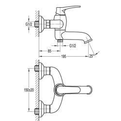 Bergsee Белла смесител за вана/душ златен 2