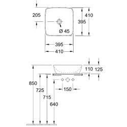 Villeroy & Boch Artis 41х41 мивка върху плот 2