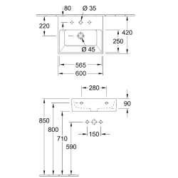 Villeroy & Boch Memento 60x42cm стенна мивка 2