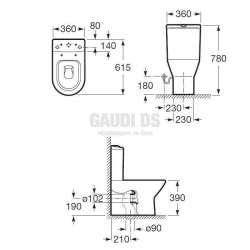 Roca Nexo тоалетна чиния за моноблок с двойно оттичане 2
