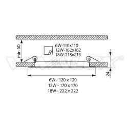Vivalux LED панел - GRID LED 12W CL/W 2