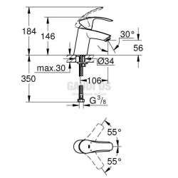 GROHE EUROSMART смесител за умивалник без изпразнител 2