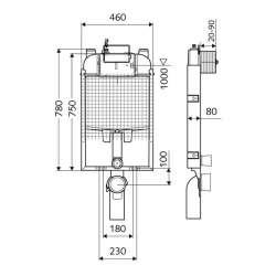 Schell Montus C-N 80 казанче за WC с метален бутон 2