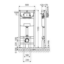 Schell Montus C120 структура за WC с хром бутон 2