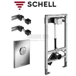 Schell Compact II структура за WC с напорен кран и хром бутон 032810099+028040699+032580099