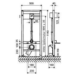 Schell Compact II структура за WC с напорен кран и метален бутон 2