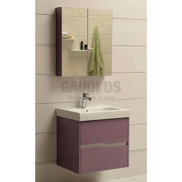 Комплект горен и долен лилав PVC шкаф 60см Wave GDS 6049 purple