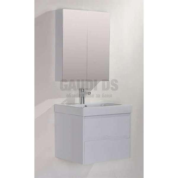 Комплект горен и долен бял PVC шкаф 60см Wave GDS 6049 white