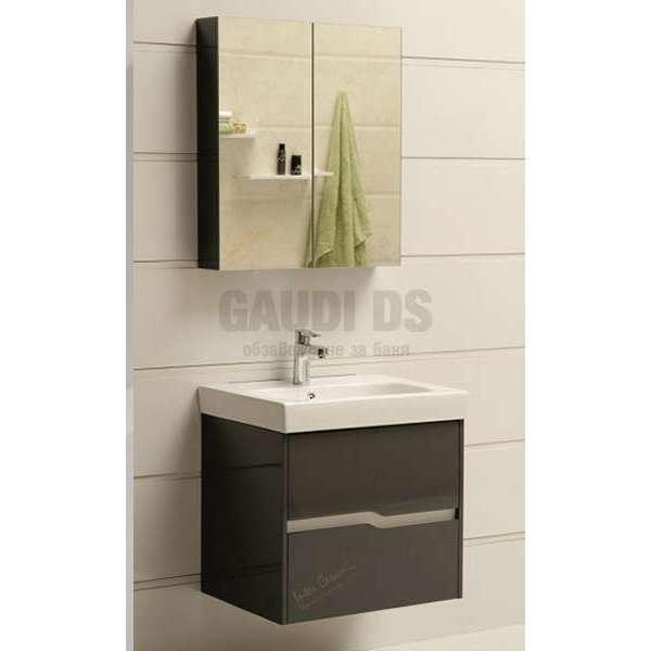Комплект горен и долен сив PVC шкаф 60см Wave GDS 6049 grey