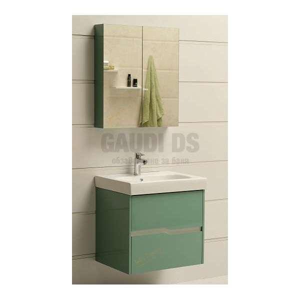 Комплект горен и долен зелен PVC шкаф 60см Wave GDS 6049 green