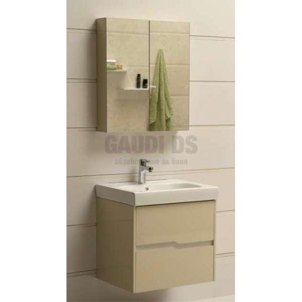 Комплект горен и долен беж PVC шкаф 60см Wave GDS 6049 beige