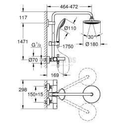 GROHE EUPHORIA SYSTEM 180 Душ система с термостат 2