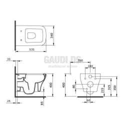 Firenze конзолна WC с правоъгълна форма и скрит монтаж 2