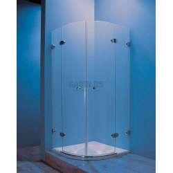 Овална душ кабина с две отваряеми врати,прозрачно стъкло 90х90х195