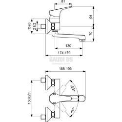 Vidima SevaNext смесител стенен за умивалник 2