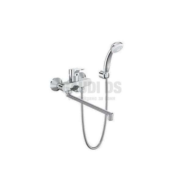 Vidima SevaNext смесител стенен за вана/душ с дълъг чучур и аксесоари B1926A