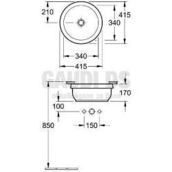Villeroy & Boch Architectura мивка за вграждане под плот с диаметър 340 mm 1