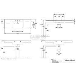 Villeroy & Boch Omnia Architectura - Мивка за баня за свободен монтаж с размер 1300х485 mm 1