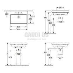 Villeroy & Boch Avento ъглова мивка за вграждане с размери 650х470 mm 2