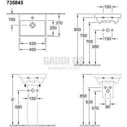 Villeroy & Boch Avento ъглова мивка за вграждане с размери 450х370 mm 1