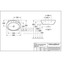 Villeroy & Boch Aveo New Generation овална мивка за вграждане с размери 680х500 mm 2