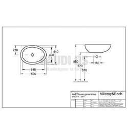 Villeroy & Boch Aveo New Generation овална мивка за монтаж върху плот с размери 595х440 mm 1