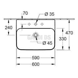 Villeroy & Boch Finion ъглова мивка за вграждане с размери 600х470 mm 2