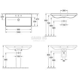 Villeroy & Boch Finion ъглова мивка за вграждане с размери 1000х470 mm 2