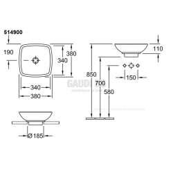 Villeroy & Boch Loop & Friends 38х38 см мивка върху плот 1