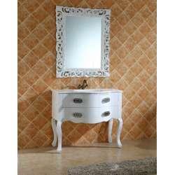 Комплект PVC ретро, вградена бяла мивка и огледало komplekt-pvc-retro-byala