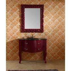 Комплект бордо PVC ретро, стъклена мивка, огледало ICP 11094 RED