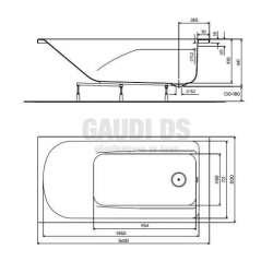 Правоъгълна вана KOLO Comfort Plus 160х80 см с дръжки 2