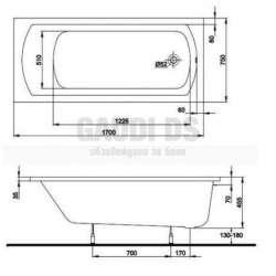 Правоъгълна вана KOLO Perfect 170х75 см 2
