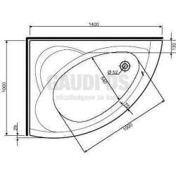 Асиметрична вана KOLO Neo Plus -лява 140х100 см 1