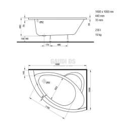 Асиметрична вана KOLO Neo Plus -дясна 160х100 см 1