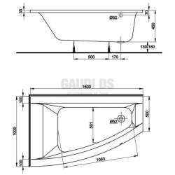 Асиметрична вана KOLO Neo Plus - лява 160х100 см 1