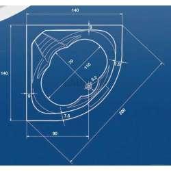 Ъглова акрилна вана Riviera 140 - 140x140x47,0 см 2