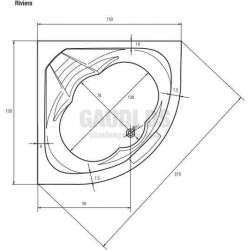 Ъглова акрилна вана Riviera 150 - 150x150x47,5 см 2