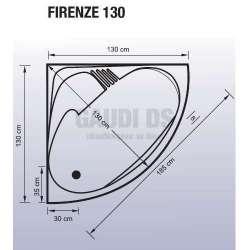 Ъглова акрилна вана Firenze 130 -130x130x43 см 2