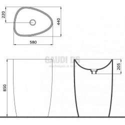 Bocchi Etna 58см умивалник моноблок стоящ с отвор за смесител бял гланц 2