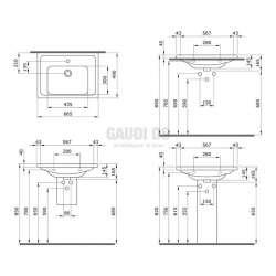 Bocchi Taormina Pro 65см умивалник за стена или шкаф бял гланц с отвор за смесител и преливник 2