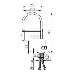 Смесител Libretto с изтеглящ се ›гъвкав черен PVC чучур 1