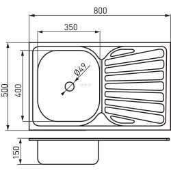 Единична мивка 50x80 см, дясна, покритие лен 1